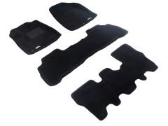 Коврики в салон для Acura MDX '06-13 текстильные 3D чёрные (3D Mats) 1+2+3 ряд