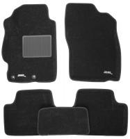Коврики в салон для Mitsubishi Lancer X (10) '07- текстильные 3D чёрные (3D Mats)