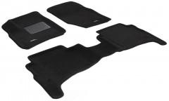 Коврики в салон для Volkswagen Touareg '02-09 текстильные 3D чёрные (3D Mats)