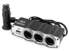 Разветвитель прикуривателя на 3 гнезда +USB CS301 (CarLife)