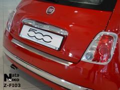 Накладка с загибом на бампер для Fiat 500 '08- (Premium)