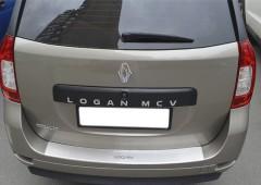 Накладка с загибом на бампер для Renault Logan MCV '13- (Premium)