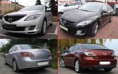 Задний бампер Mazda 6 '08-10, два выхлопа, без отв. п/троник, черный (FPS)