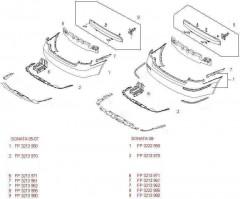 Защита бампера задняя Hyundai Sonata '05-07, один выхлоп (FPS)