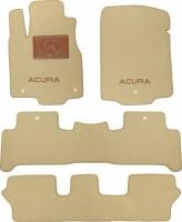 Коврики в салон для Acura MDX '06-13 текстильные, бежевые (Премиум) 1+2+3 ряд
