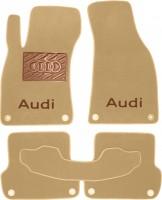 Коврики в салон для Audi A4 '05-08  текстильные, бежевые (Премиум)  8 клипс