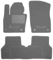 Коврики в салон для Audi Q3 '11-  текстильные, серые (Люкс) 4 клипсы
