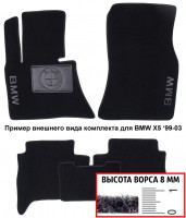 Коврики в салон для BMW 1 E87 '04-12  текстильные, черные (Премиум)