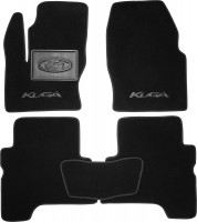 Коврики в салон для Ford Kuga '13-  текстильные, черные (Премиум) 2 клипсы