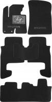 Коврики в салон для Hyundai Santa Fe '10-12 CM текстильные, черные, 3 ряда (Люкс)