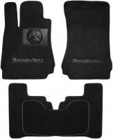 Коврики в салон для Mercedes S-Class W221 '06-13 Long текстильные, черные (Люкс) 4 клипсы