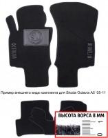 Коврики в салон для Skoda Superb '02-08  текстильные, черные (Премиум)