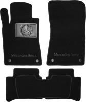 Коврики в салон для Mercedes E-Class W211 2002-2009 текстильные, черные (Премиум) 4 клипсы