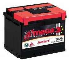 Автомобильный аккумулятор A-MEGA Standart 60Ач, правый плюс