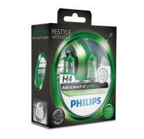 Philips Автомобильные лампочки Philips ColorVision Green H4 60/55W 12V (Комплект: 2шт.)