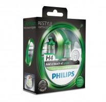 Фото 1 - Автомобильные лампочки Philips ColorVision Green H4 60/55W 12V (Комплект: 2шт.)