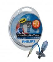 Автомобильные лампочки Philips MasterDuty BlueVision H3 70W 24V (Комплект: 2шт.)