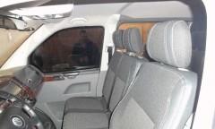Авточехлы Premium для салона Volkswagen Transporter T5 '03-15, пассажирский (9 мест), красная строчка (MW Brothers)