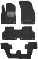 Textile-Pro Коврики в салон для Audi Q7 '15- текстильные, черные (Премиум) 1+2+3 ряд, 8 клипс
