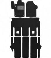 Коврики в салон для Mercedes V-Class W447 '14- 7 мест, раздельные, текстильные, черные (Премиум)