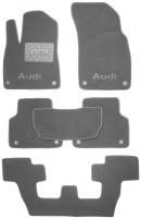 Коврики в салон для Audi Q7 '15- текстильные, серые (Премиум) 1+2+3 ряд, 8 клипс
