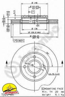 Комплект тормозных дисков BREMBO 09.7806.14 (2 шт.)