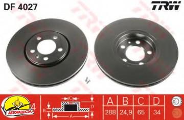 Комплект тормозных дисков TRW DF4027 (2 шт.)