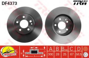 Комплект тормозных дисков TRW DF4373 (2 шт.)
