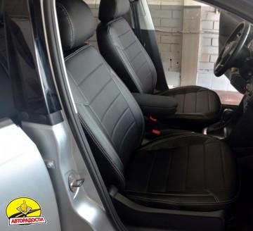 Авточехлы из экокожи X-LINE для салона Volkswagen Polo '10- седан, с деленой спинкой (AVTO-MANIA)