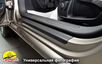 Накладки на пороги карбон для Seat Toledo '12-, 5дв. (Premium+k)