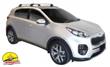 Багажник Kia Sportage с 2016 на интегрированные рейлинги Whispbar Flush Bar, серый