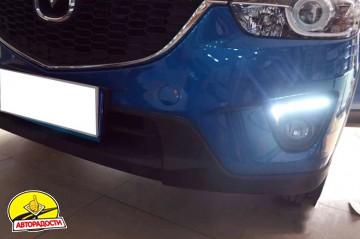 Дневные ходовые огни для Mazda CX-5 '2012-2015 V2, черные (LED-DRL)