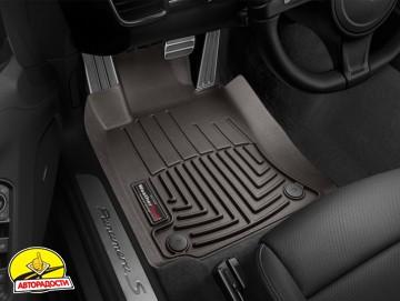 Коврики в салон для Porsche Panamera '10-16 коричневые, резиновые 3D (WeatherTech)