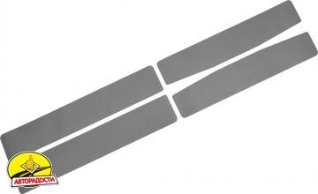 Наклейки на пороги для Fiat Grande Punto / Punto Evo '05- хэтчбек, карбон, черные (NataNiko)