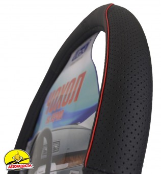 Чехол на руль черный с перфорированными вставками + красная нить, кожа VNW1615 M