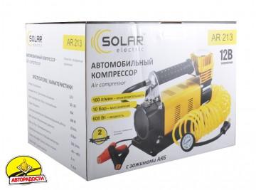 Компрессор автомобильный Solar AR213 с зажимами АКБ