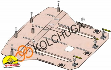 Защита двигателя и КПП, радиатора для Kia Stonic '18-, V-1,4i, МКПП (Кольчуга) Zipoflex