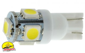 Лампочка автомобильная светодиодная Cyclon W5W T10-038 5050-5 12V MJ