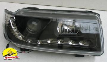 Передние фары для Volkswagen Passat B4 '93-96, черные (ASP)
