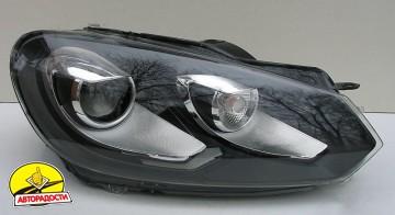 Передние фары для Volkswagen Golf VI '09-12, черные (ASP)