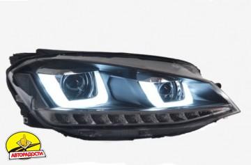 Передние фары для Volkswagen Golf VII '12-, TLZ с бегущими указателями поворотов (ASP)