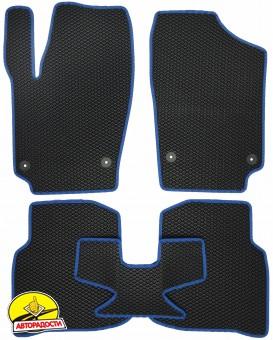 Коврики в салон для Volkswagen Polo '10- седан, EVA-полимерные, черные с синей тесьмой (Kinetic)