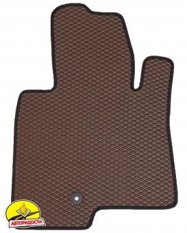 Коврики в салон для Mitsubishi Pajero Wagon 3 '00-07, EVA-полимерные, коричневые с черной тесьмой (Kinetic)