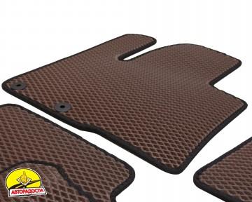 Коврики в салон для Hyundai Santa Fe '10-12 CM, EVA-полимерные, коричневые с черной тесьмой (Kinetic)