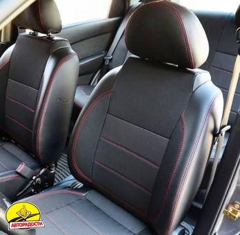 Авточехлы Premium для салона Chevrolet Aveo '04-11, седан красная строчка (MW Brothers)