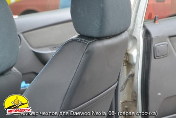 Авточехлы Premium для салона Daewoo Nexia '08- красная строчка (MW Brothers)