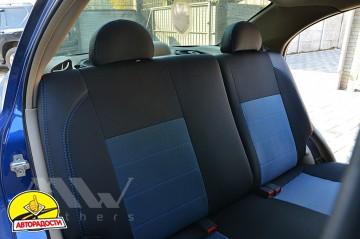 Авточехлы Premium для салона Chevrolet Aveo '04-11, седан синяя строчка (MW Brothers)