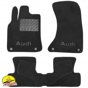 Коврики в салон для Audi Q5 '08-17 S-Line, текстильные, черные (Премиум) 4 клипсы