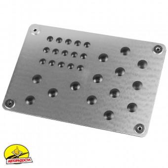 Подпятник для ковриков металлический (15х22см) с креплением, серебристый