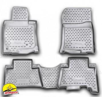 Коврики в салон для Toyota Land Cruiser Prado 150 '10-13 полиуретановые, серые (Novline)